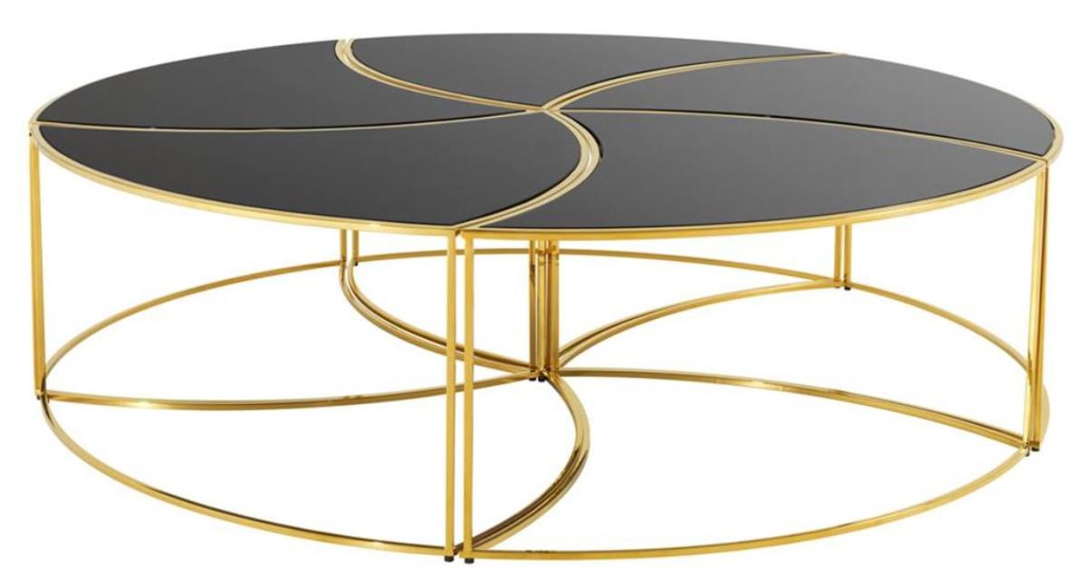 Casa Padrino Luxus Couchtisch Gold Schwarz O 150 X H 40 Cm