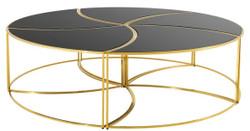 Casa Padrino Luxus Couchtisch Gold / Schwarz Ø 150 x H. 40 cm - Designer Wohnzimmermöbel