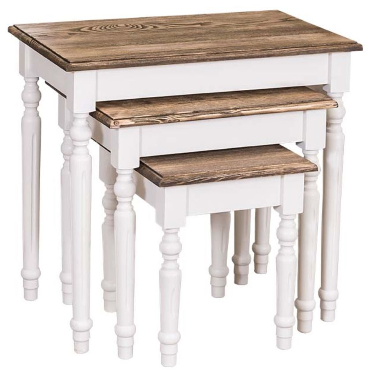 Casa Padrino Country Style Side Table Set Of 3 White / Brown   Country Style  Solid Wood Furniture