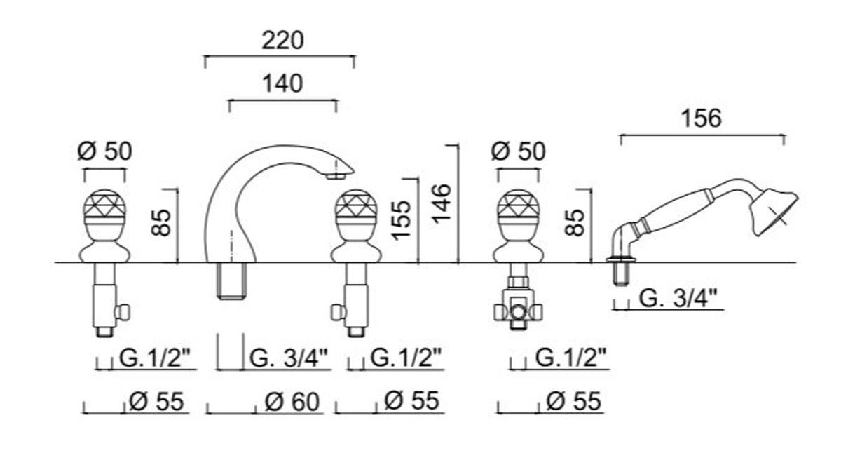 Luxus Badewannen Armaturen Set 5-Loch Kombination Silber - Badezimmer  Badewannenarmaturen mit Swarovski Kristallglas