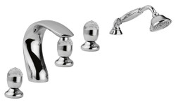 Luxury Bathtub Faucets Set 5-Hole Combination Silver - Bathroom Bathtub Faucets with Swarovski Crystal Glass
