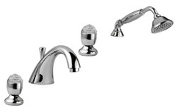 Luxury Bathtub Faucets Set 4-Hole Combination Silver - Bathroom Bathtub Faucets with Swarovski Crystal Glass
