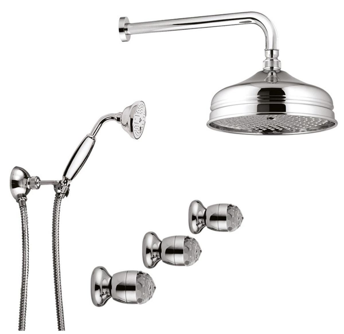 luxus badezimmer armaturen duplex einbau brauseset duschset mit swarovski kristallglas silber. Black Bedroom Furniture Sets. Home Design Ideas