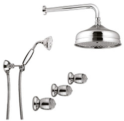 Luxury Bathroom Faucets Duplex Shower Set with Swarovski Crystal Glass Silver - Luxury Shower Set Made in Italy