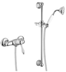 Luxury bathroom shower set wall mounted single lever shower mixer silver / white - Shower Set with Shower Rail