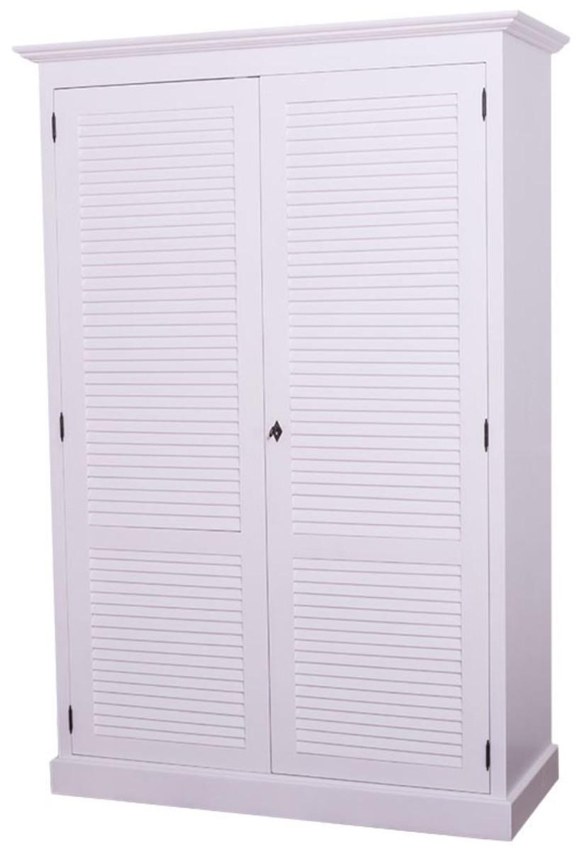 Casa Padrino Landhausstil Schlafzimmerschrank / Kleiderschrank mit 2 Türen  Weiß 134 x 59 x H. 200 cm - Schlafzimmermöbel