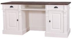 Casa Padrino Landhausstil Schreibtisch mit 2 Türen und 2 Schubladen Weiß / Braun 160 x 70 x H. 78 cm - Büromöbel im Landhausstil