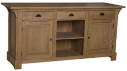Casa Padrino country style counter brown 191 x 68 x H. 95 cm - Solid Wood Counter Table with 2 Doors and 3 Drawers