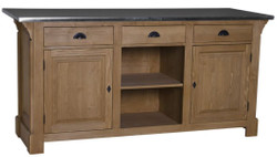 Casa Padrino country style counter brown / silver 191 x 68 x H. 95 cm - Solid Wood Counter Table with Galvanized Table Top