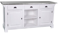Casa Padrino country style counter white / silver 191 x 68 x H. 95 cm - Solid Wood Counter Table with Galvanized Table Top
