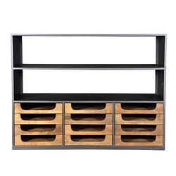 Casa Padrino designer buffet cabinet with drawers natural / gray brown 145 x 46 x 112 cm - Hotel Möbel