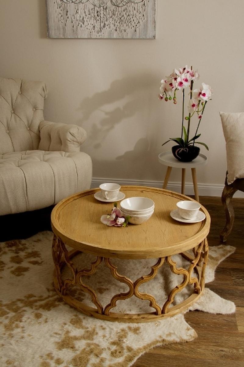 Casa Padrino Designer Couchtisch Naturfarben O 80 X H 37 Cm