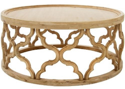 Casa Padrino designer coffee table natural colors Ø 80 x H. 37 cm - Modern Round Wood Coffee Table