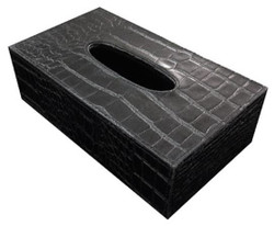 Casa Padrino Luxury Tissue Box Black crocodile Look 25 x 15 x H. 8 cm - Luxury Accessories