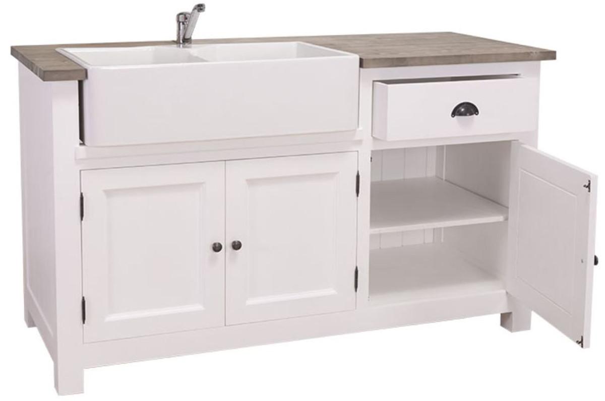 Casa Padrino mobile lavabo stile country bianco / nero 155 x 65 x H. 90 cm  - Mobile Lavello / Mobile da Cucina con 3 Ante e Cassetto