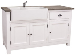 Casa Padrino country style sink cabinet white / black 155 x 65 x H. 90 cm - Sink / Kitchen Cabinet with 3 Doors and Drawer