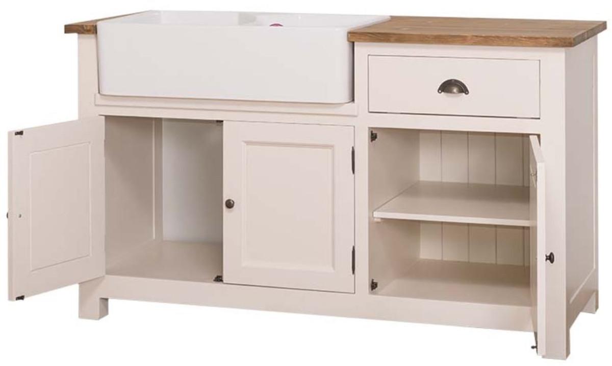 Casa Padrino mueble fregadero estilo country crema / marrón 155 x 65 x H.  90 cm - Mueble Fregadero / Mueble Cocina con 3 Puertas y Cajón