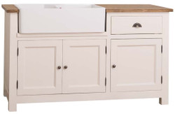 Casa Padrino country style sink cabinet cream / brown 155 x 65 x H. 90 cm - Sink / Kitchen Cabinet with 3 Doors and Drawer