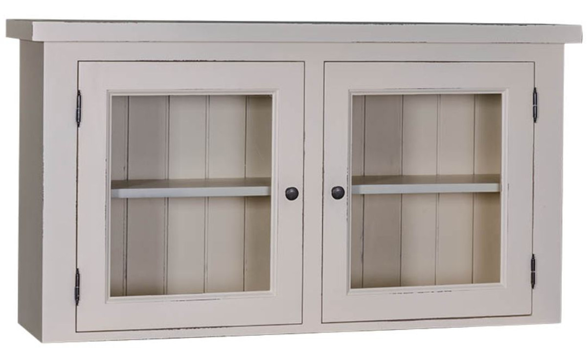 Casa Padrino Country Style Kitchen Hanging Wall Cabinet Antique Light Gray 120 X 31 X H 65 Cm Country Style Kitchen Cabinet With 2 Glass Doors