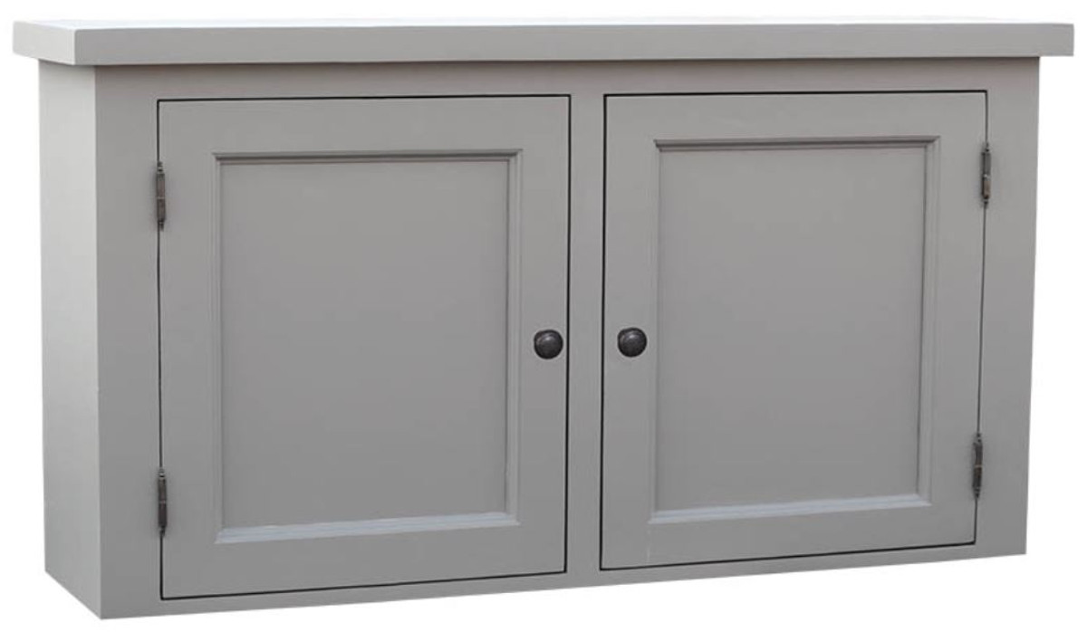 Casa Padrino Country Style Kitchen Hanging Wall Cabinet Gray 120 X 31 H 65 Cm With 2 Doors