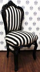 Casa Padrino Barock Esszimmer Stuhl Schwarz / Weiß Streifen / Schwarz - Möbel Barockes Interior