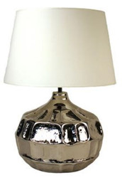 Casa Padrino aluminum table lamp silver / white Ø 45 x H. 60 cm - Luxury Table Light