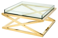 Casa Padrino luxury coffee table / living room table gold 100 x 100 x H. 46.5 cm - Hotel Furniture