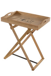 Casa Padrino Designer Side Table with Removable Tray - Serving Table - Bar Table - Wooden Tray - Hand Crafted