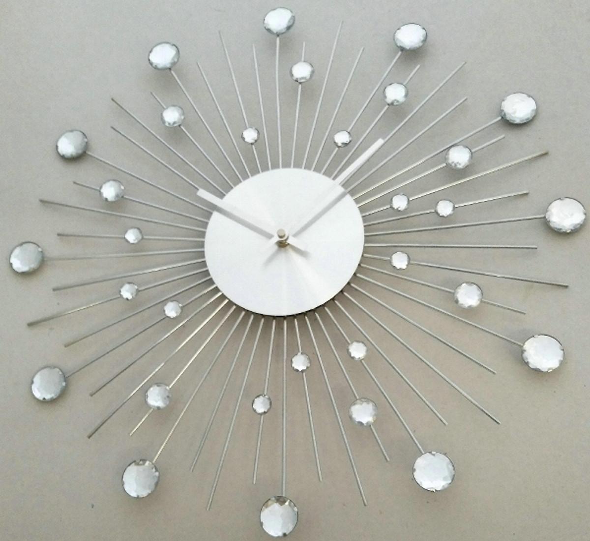 Casa Padrino Designer Wanduhr aus Edelstahl mit Bling Bling Steinen Silber D. 50 cm 1