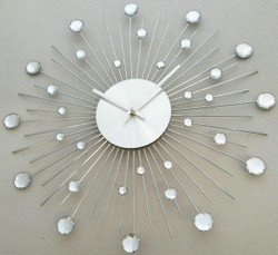 Casa Padrino Designer Wall Clock in Stainless Steel with Bling Bling Stones Silver D. 50 cm
