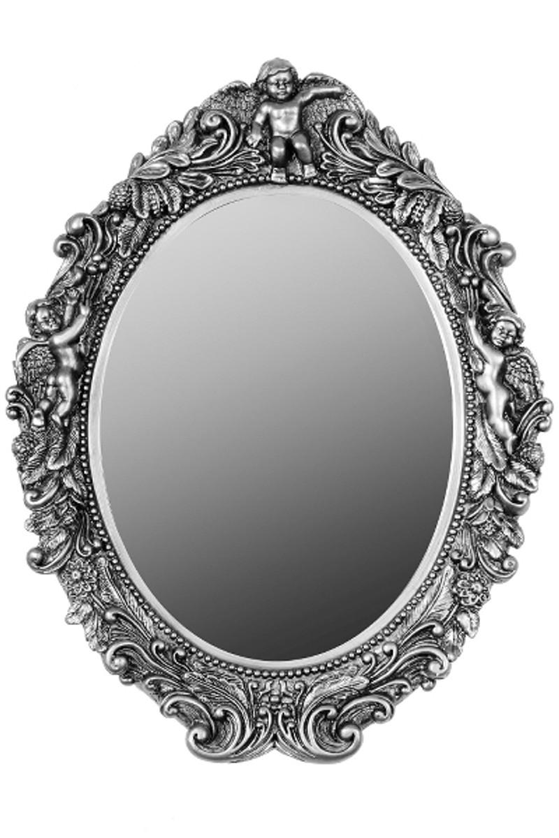 Casa Padrino Barock Wandspiegel Oval Silber Höhe 53 cm, Breite 40 cm - Edel & Prunkvoll - Vintagelook - Handgefertigt  1