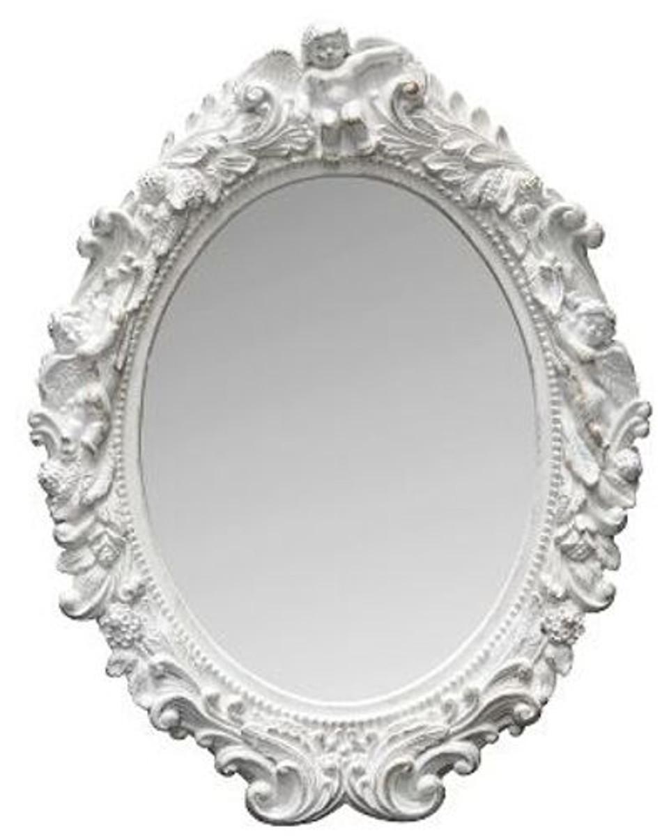 Casa Padrino Barock Wandspiegel Oval Weiss Höhe 53 cm, Breite 40 cm - Edel & Prunkvoll - Vintagelook - Handgefertigt  1