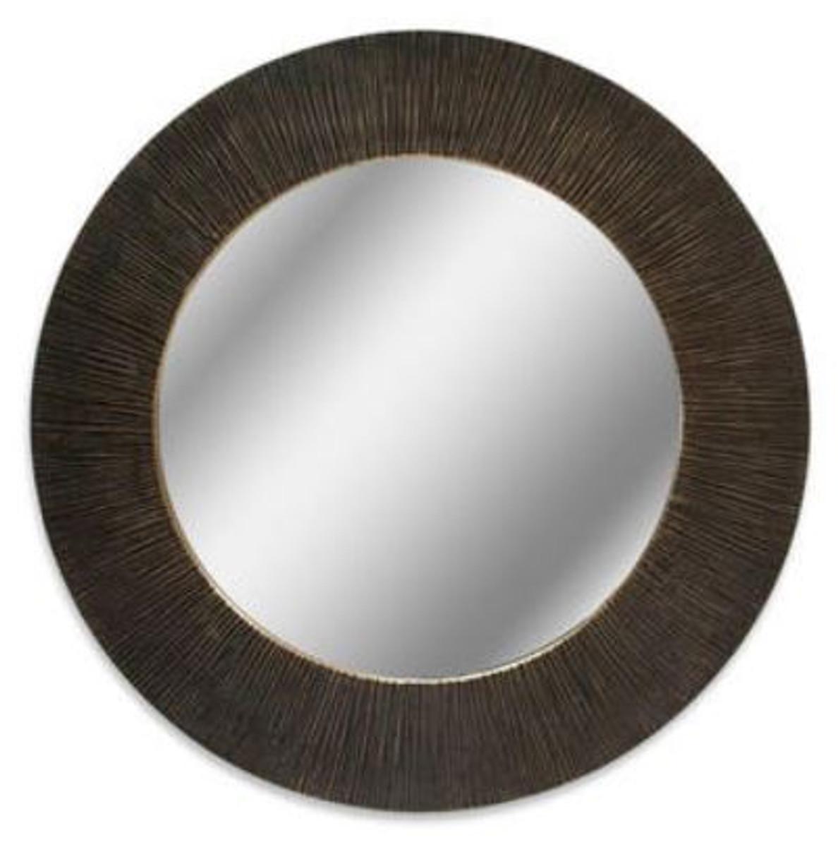 Casa Padrino Luxus Spiegel Schwarz / Bronze Ø 74 cm - Luxus Aluminium Wandspiegel  1