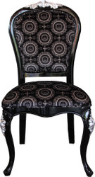 Pompöös by Casa Padrino Luxury Baroque Dining Chair Black / Silver with Crown - Pompööser Baroque Chair designed by Harald Glööckler