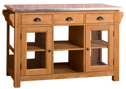Casa Padrino country style kitchen island with zinc plated worktop natural colors / silver 135 x 65 x H. 90 cm - Country Style Kitchen Cabinet with 4 Glass Doors and 6 Drawers