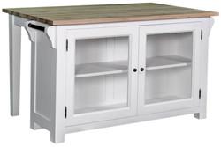 Casa Padrino Landhausstil Kücheninsel Weiß / Naturfarben 135 x 85 x H. 80 cm - Landhausstil Küchenschrank mit 2 Glastüren