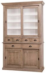 Casa Padrino Landhausstil Küchenschrank Braun / Weiß 142 x 48 x H. 225 cm - 2 Teiliger Küchenschrank mit 4 Schiebetüren und 6 Schubladen