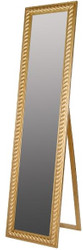 Casa Padrino Barock Standspiegel Gold mit wunderschönem antik-goldenem Kordelrahmen H. 180 cm - Handgefertigt