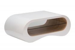 Casa Padrino Designer Couchtisch Weiss / Natur 110cm x 60cm x H.40cm - Salon Wohnzimmer Tisch