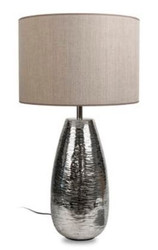 Casa Padrino luxury table lamp silver / taupe Ø 40 x H. 73 cm - Aluminum Table Light