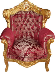Casa Padrino Baroque Armchair Al Capone Bordeaux Pattern / Gold - Rococo Antique Style Furniture