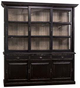 Casa Padrino Country Style Kitchen Cabinet Antique Black / Brown 206 x 53 x H. 219 cm - 2 Piece Kitchen Cabinet with 6 Sliding Doors and 3 Drawers – Bild 1