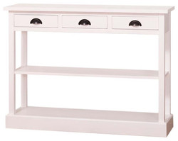Casa Padrino country style kitchen console white 120 x 35 x H. 89 cm - Country Style Console Table with 3 Drawers