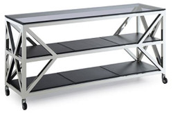 Casa Padrino luxury console table silver / black 150 x 45 x H. 75 cm - Living Room Console with Wheels