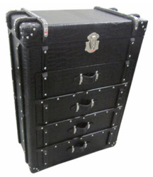 Casa Padrino chest with 4 drawers black crocodile look / silver 80 x 45 x H. 110 cm - Luxury Chest of Drawers in Suitcase Design
