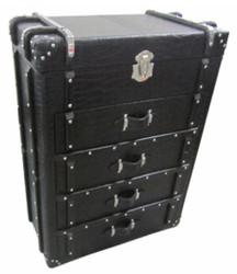 Casa Padrino Kommode mit 4 Schubladen Schwarz Kroko-Optik / Silber 80 x 45 x H. 110 cm - Luxus Kommode im Koffer Design