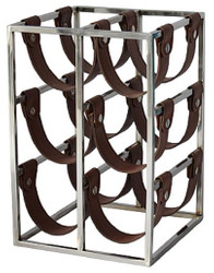 Casa Padrino Luxury Wine Bottle Holder Silver / Brown 26 x 28 x H. 39 cm - Small Wine Rack for 6 Bottles