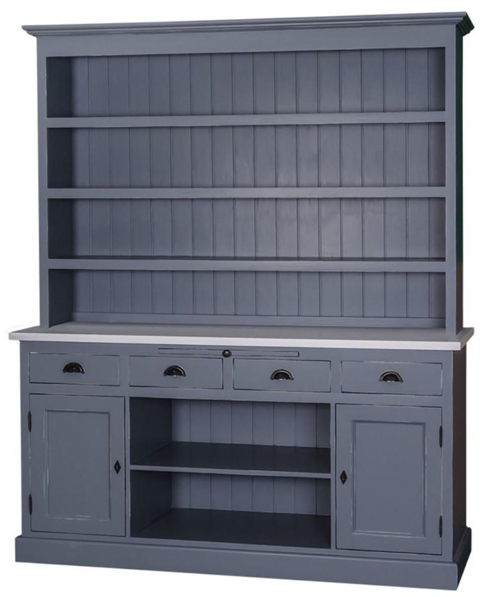 Casa Padrino Landhausstil Küchenschrank Antik Blau / Grau