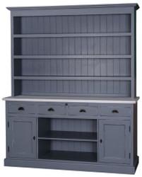 Casa Padrino Landhausstil Küchenschrank Antik Blau / Grau 178 x 50 x H. 210 cm - Landhausstil Küchenmöbel