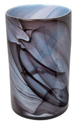 Casa Padrino luxury flower vase blue / black Ø 25 x H. 42 cm - Design Glass Vase